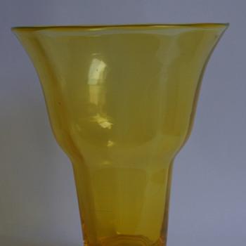 Webb Uranium Yellow Vase - Art Glass