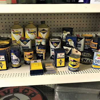 Sunoco assortment of oil cans and other  company products  - Petroliana