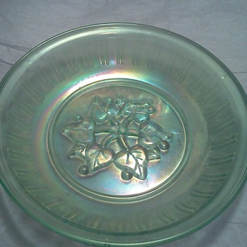 Vintage Ice Blue Carnival Glass Leaves & Berries Design Mystery Piece