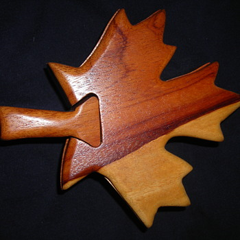 Wooden maple leaf puzzle box