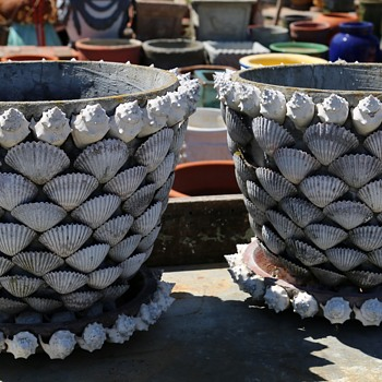 Two Large Victorian Shell-encrusted Planters