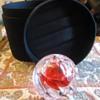 Bohemian cut glass lamp in silk box $5.00!