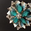 Turquoise and Diamente costume brooch