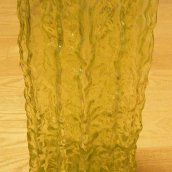Textured Thick Glass Green Lime Vase  - Glassware