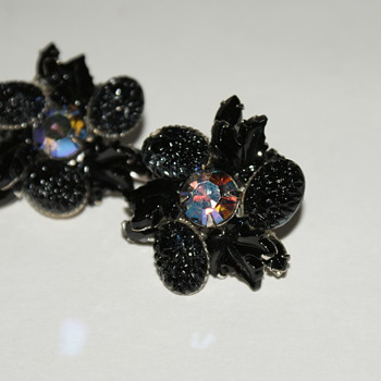 Black Glass and Aurora Borealis Rhinestone Vintage Clip-On Earrings - Costume Jewelry
