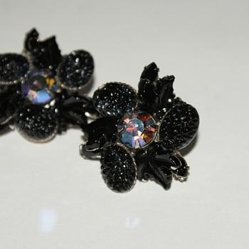 Black Glass and Aurora Borealis Rhinestone Vintage Clip-On Earrings - Costume Jewelry