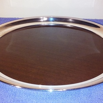 mid century modern silver(plate?) & FORMICA serving tray by CRESCENT - Mid-Century Modern