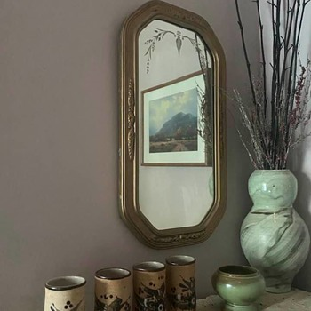 For fun:  Netzi tumblers, Frankoma vase, Peter Chartrand vessel in front of Art Deco mirror.   - Pottery
