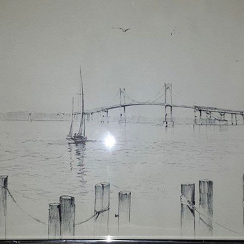 Richard Grosvenor Drawing of Newport Bridge - Fine Art