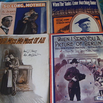 "Sheet Music, WW1 Contrasts"" GOING INTO THE CONFLICYT--AND WAR OVER ,COMING HOME! - Music Memorabilia"