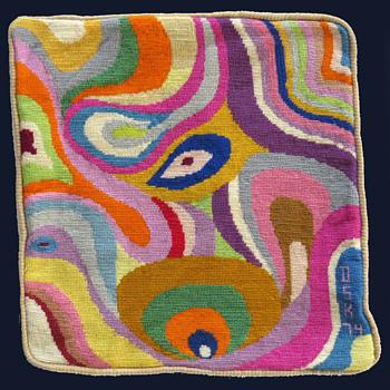 Signed & Dated 1974 Hippie Folk Art Psychedelic Needlepoint Pillow Case - Folk Art