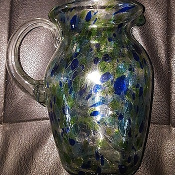 mystery Blown Glass vase blue green and textured heavily with clear handle - Glassware