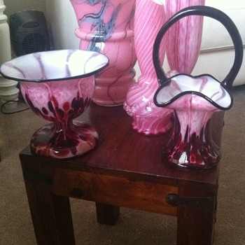 Pink Stripes and Splatts - Art Glass
