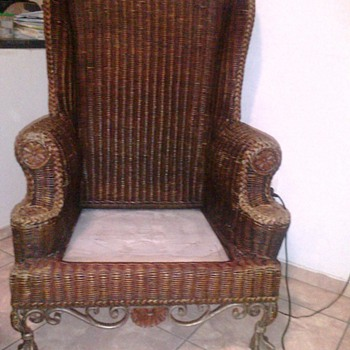 Beautiful Rattan Wicker Wingback chair with cast iron ball and claw feet - Furniture