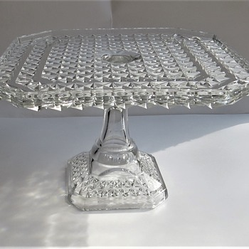 Square Glass Cake Plate - Campbell Jones & Co - 83 - Glassware