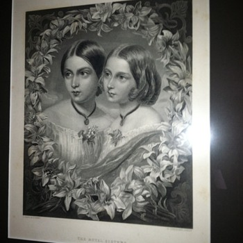 "Antique Steel Engraving ""The Royal Sisters"" c. 1870 [Proof / NOT a print]"