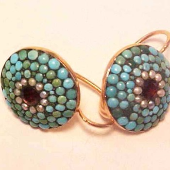 Antique Gold Turquoise and Garnet Earrings - Fine Jewelry
