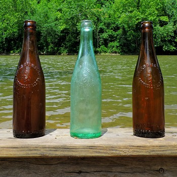 Yough Brewing Beer Bottles Connellsville, PA Amber Aqua Glass - Bottles