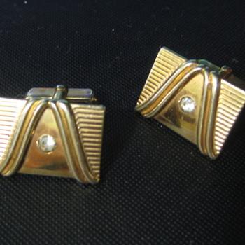 Gold with  Rhinestone Cuff Links  - Fine Jewelry