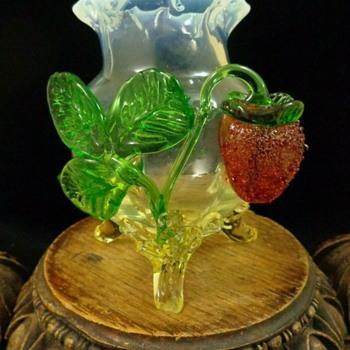 Loetz BAROCK Art Glass Vase with Applied Strawberry - Art Glass
