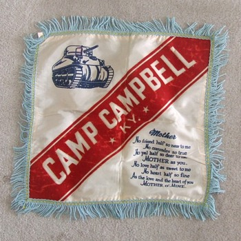 WW2 Camp Campbell, KY souvenir pillow cover  c. 1943 - Military and Wartime