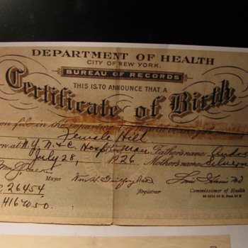 1926 Birth Certificate