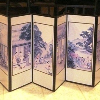 Interesting Small Asian Folding Screen - Asian