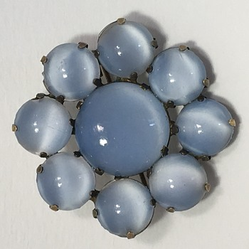 I wonder when this brooch was made and what is the stone? Glass?