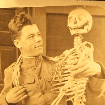 RPPC of soldier with a skeleton - Military and Wartime