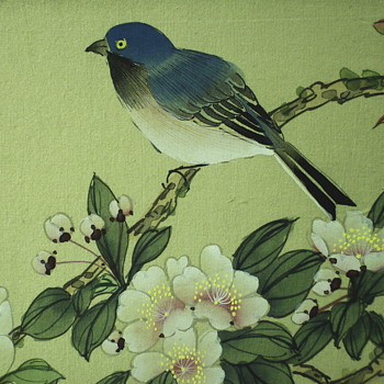 Asian Bird/Flowers, Watercolour on Silk,Mid Century. - Fine Art
