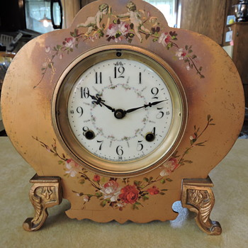 New Haven Mantle Clock Metal Painted with Cherubs - Clocks