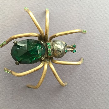 Art Deco Rhinestone Spider Brooch - Costume Jewelry
