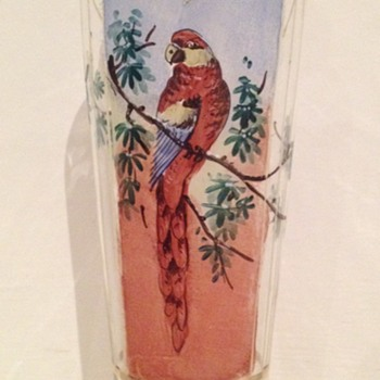 Edwardian clear glass vase with enamelled and painted decoration