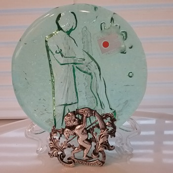 Cini sterling Aquarius brooch, Blenko Glass Aquarius paperweight  - Art Glass