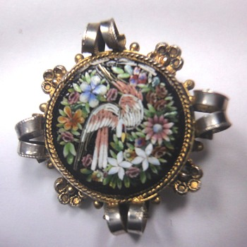 Micro Mosaic Bird Vermeil/Silver Pendant - Fine Jewelry