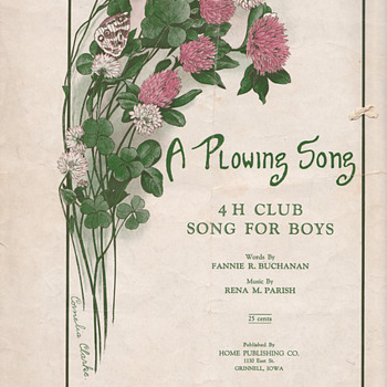 A Plowing Song 4H Club song for boys original sheet - Music Memorabilia