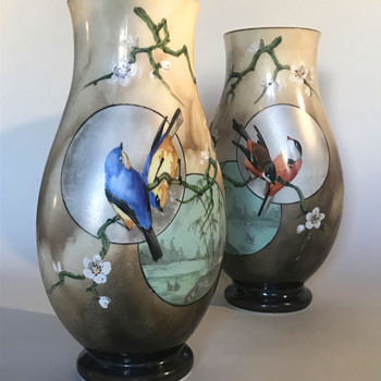 Baccarat Japonisme Birds, Moon and Cherry blossom Glass Vases - 1880 - Art Glass
