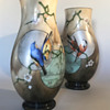 Baccarat Japonisme Birds, Moon and Cherry blossom Glass Vases - 1880