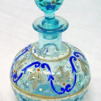 Bohemian Glass Enameled Decanter in Light Blue - Wonderful! - Art Glass