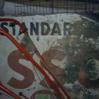 Old Esso Sign and Coke Fridge