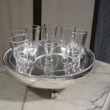 ERCUIS FRANCE GALET CAVIAR-VODKA BOWL. SILVER-PLATE W/ GLASS #841 - Kitchen