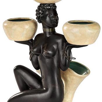 Anzengruber Ceramic terracotta African Nubian - Art Deco