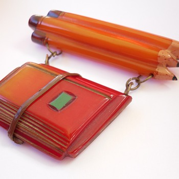 Rare Antique Bakelite School Days Pencil Book Bundle Dangle Pin  - Costume Jewelry