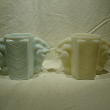 pair of Macbeth-Evans votives in Monax glass. - Art Glass