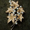Crown Trifari pearl leaf brooch