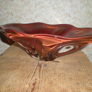 Bohemian fruit bowl 1960s. - Art Glass
