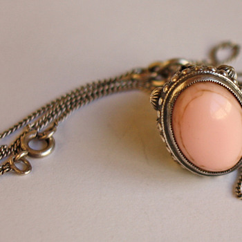 Vintage silver pendant with rose 'stone' - Fine Jewelry
