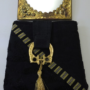 Pocket Mirror with Ornate Brass Frame - Original Silk Pouch from Lebanon - Accessories