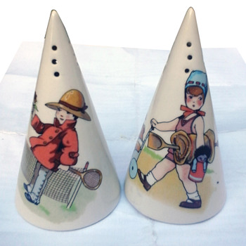 Clarice Cliff sugar shakers, Children & Toys design. - Pottery