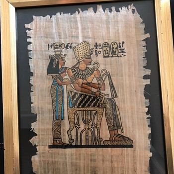 Authentic Hand Painted Egyptian Papyrus Of Cleopatra and her son - Fine Art